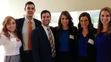 Tour guides Allison Baron, Taylor Krueger, Nick Serluco, Erica Tanner, Claire Goodwin, and Mallory Reed showed their Gator pride to prospective students at the 2014 Open House